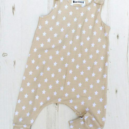baby beige star romper