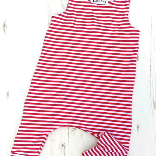 baby red stripe baby romper 2