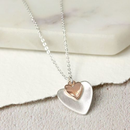 pom double heart necklace