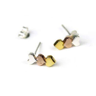 f263c567b Sterling Silver, Rose Gold & Gold Triple Heart Stud Earrings - Leaf ...