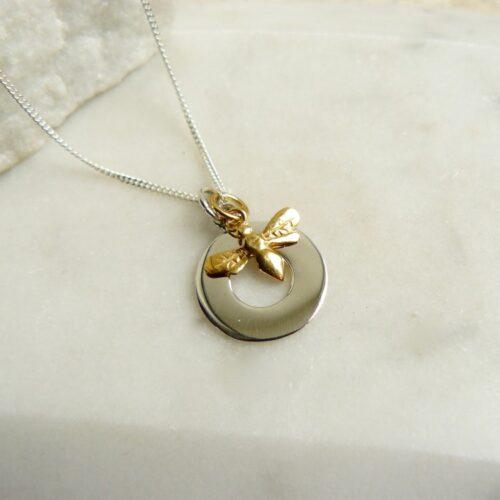 CN455_silvercirclegoldbeenecklace-750×750