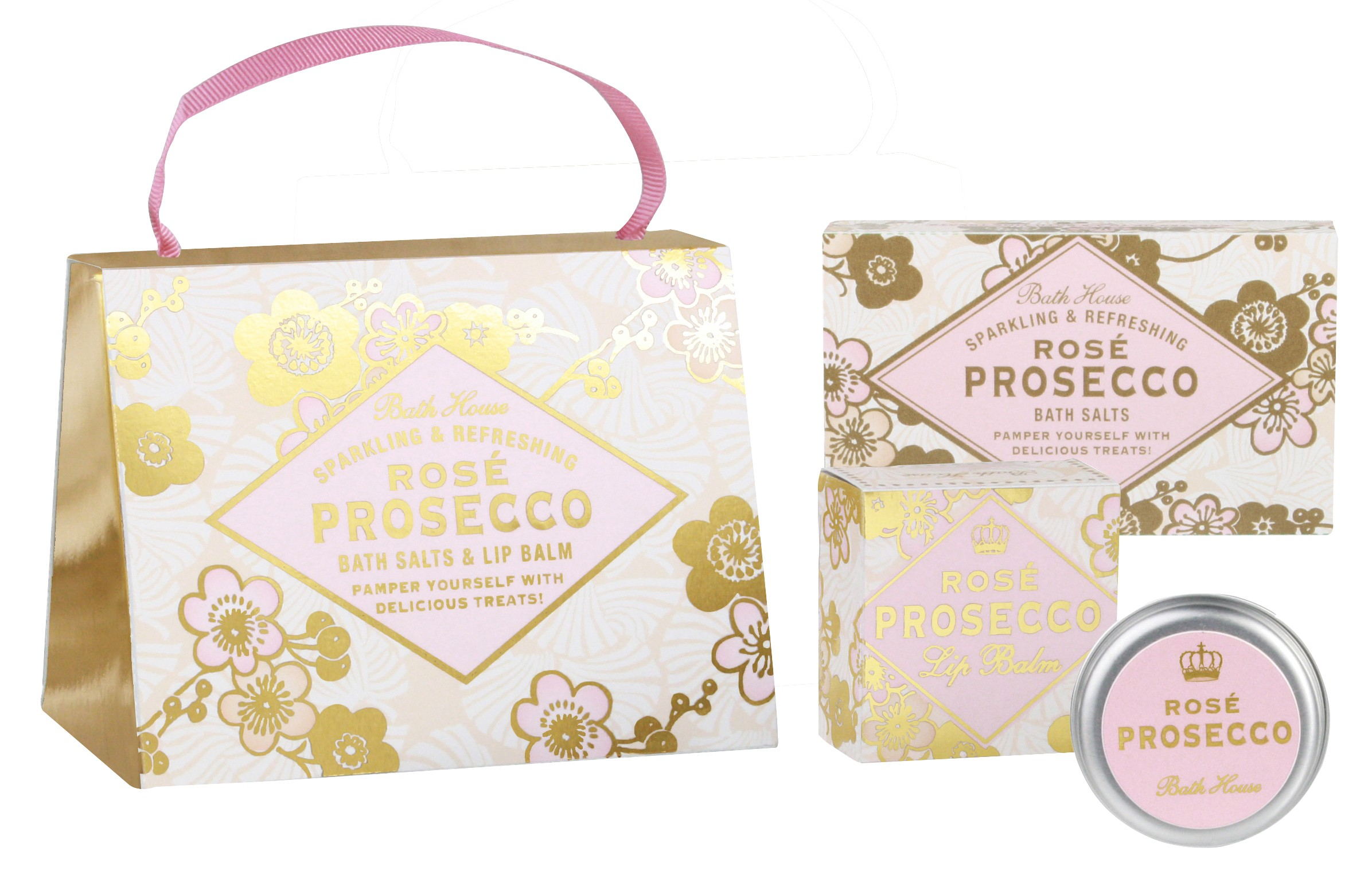 Bath House Rose Prosecco Pamper Gift Hand Bag