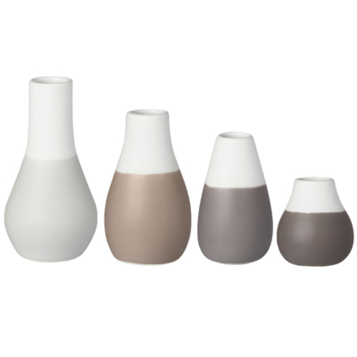 Rader Set Of Four Pastel Grey Vases