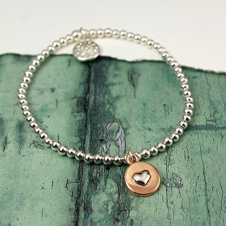 Silver Plated Stretch Bracelet With Silver Plated Heart