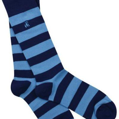 Swole Panda Sky Blue Striped Bamboo Socks