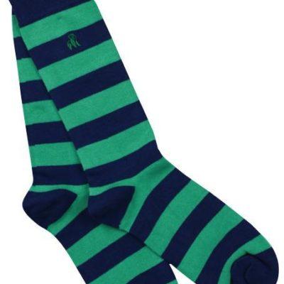 Swole Panda Lime Green Striped Bamboo Socks