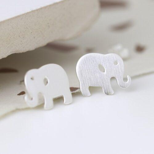 d-silver_brushed_elephant_earrings