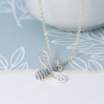 Silver plated and enamel bee necklace with crystals