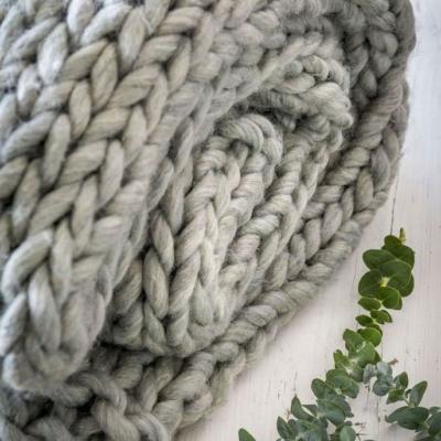 Retreat Home Grey Chunky Knit Throw