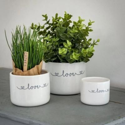 Retreat Love Inscribed Ceramic Pot Small