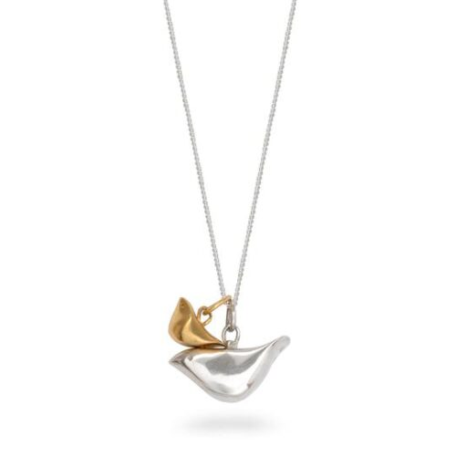 lime tree design double bird necklace